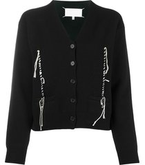 maison margiela twisted thread detail cardigan - black