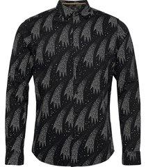 regular fit - festive all-over printed shirt skjorta casual svart scotch & soda