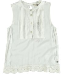 garcia viscose blouse top met kant spring white