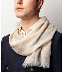 sciarpa da uomo, maalbi, seta lino beige, primavera estate | lanieri