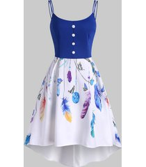butterfly feather print mock button high low dress