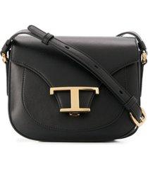 tod's bolsa tiracolo com logo - preto