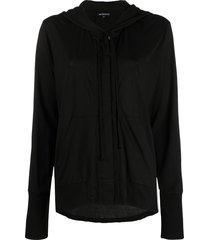 ann demeulemeester draped fine knit hoodie - black
