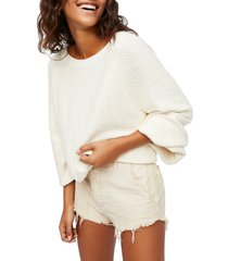 women's free people found my friend boucle pullover, size x-small - ivory
