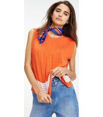 tommy hilfiger women's sleeveless stitch stripe sweater orange - s