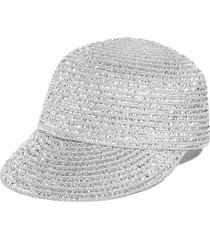 women's eric javits mondo woven cap, size medium/large - metallic