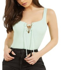 guess annis lace-up sleeveless sweater