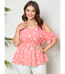 tallas grandes con hombros descubiertos corazón patrón blusa de media manga con tirantes elásticos