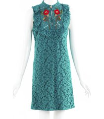 gucci floral embroidered lace mini dress blue/red/floral print sz: s