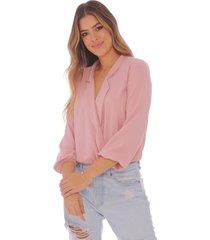 blusa manga larga coral - mujer