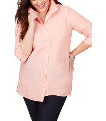 women's foxcroft sterling button front non-iron linen shirt