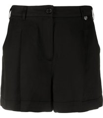 twin-set pleated tailored shorts - black