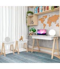 escrivaninha cavalete e conjunto mesa lateral natural branco casah - branco - dafiti