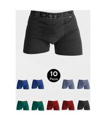 kit 10 cueca imi lingerie boxer em microfibra lisa estilo multicolorido
