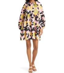 women's stine goya kelly floral print long sleeve babydoll dress, size x-large - pink
