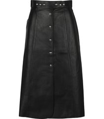 prada a-line leather midi skirt