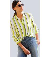 blouse alba moda limoengroen::wit::lichtblauw::marine