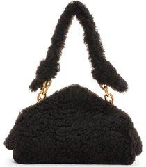 bottega veneta tip genuine shearling frame shoulder bag - brown