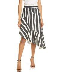 women's milly lucy abstract zebra linen blend skirt, size 2 - black
