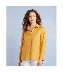camisa linho manga longa cor: amarelo - tamanho: pp