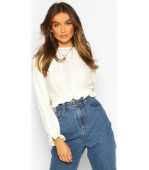 ruffle hem cropped sweater, ivory