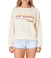 women's rip curl golden days rainbow logo cotton blend sweatshirt