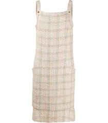 chanel pre-owned tweed shift dress - neutrals