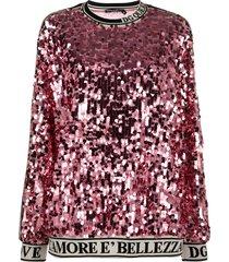dolce & gabbana sequin-embroidered sweatshirt - pink