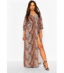 mix animal print wrap maxi dress, brown