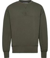 acid wash crew neck sweat-shirt tröja grön calvin klein jeans