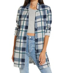 women's vero moda katrine check brushed jacket, size x-small - grey