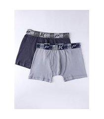 kit com 02 cuecas boxer masculinas chumbo/cinza
