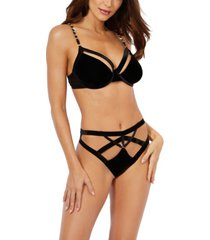 dreamgirl women's velvet strappy underwire bra and panty set