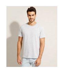 camiseta listrada básica manga curta gola careca cinza mescla claro