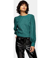 forest green jacquard long sleeve blouse - forest