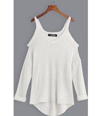 blanco casual llanura hombro frío v cuello suéteres con dobladillo curvo y mangas largas