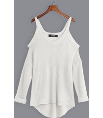 white casual plain cold shoulder v neck long sleeves curve hem sweaters