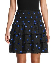 embroidered-flower ruffled tiered skirt