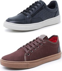 kit 2 sapatenis sandalo soft preto e levit marrom