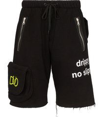 duoltd logo printed pocket track shorts - black