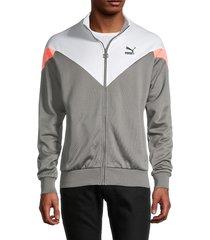puma men's colorblock zip-front jacket - grey - size s