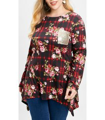 plus size floral print plaid t-shirt