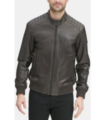 dkny men's faux leather quilted shoulder bomber jacket