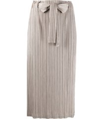pleats please issey miyake belted micro-pleated skirt - neutrals