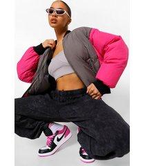 oversized gewatteerd colour block bomberjack, hot pink