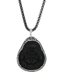 anthony jacobs men's black ip-plated stainless steel & grey & white crystal laughing buddha pendant necklace