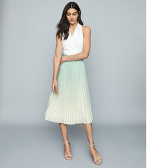 reiss mila - ombre pleated midi skirt in aqua, womens, size 12