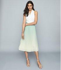 reiss mila - ombre pleated midi skirt in aqua, womens, size 14