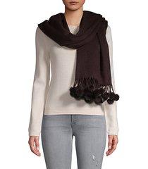 mink fur pom-pom & cashmere wraparound scarf