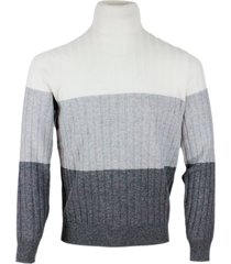 brunello cucinelli turtleneck sweater with flat rib knit in wool, cashmere and silk